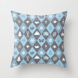 Diamond Run Winter Ski Design - Mountain Colors Throw Pillow
