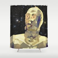 c3po Shower Curtains featuring C3po Poly Art by Cesar Carlevarino