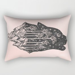 Adventure Wolf - Nature Mountains Wolves Howling Design Black on Pale Pink Rectangular Pillow