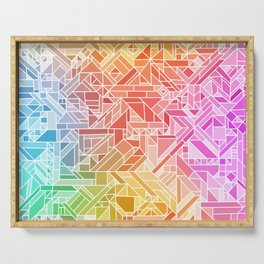 BRIGHT VIBRANT GRADIENT GEOMETRIC SHAPES RAINBOW PRINT TILED MOSAIC TIE DYE COLORFUL Serving Tray