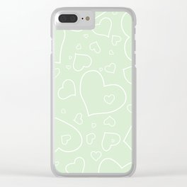 Palest Green and White Hand Drawn Hearts Pattern Clear iPhone Case