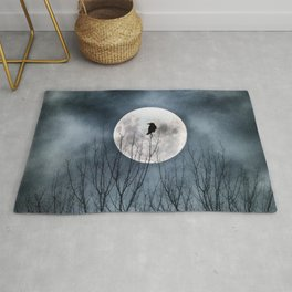 Night Raven Lit By The Full Moon Rug