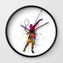 tennis player at service serving silhouette 01 Wall Clock