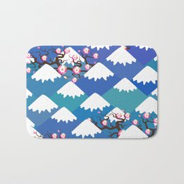 Spring Nature background with Japanese cherry blossoms, sakura pink flowers landscape. blue mountain Bath Mat