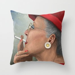 Queen of Denmark smoking a cig Throw Pillow