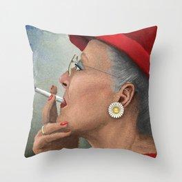 Queen of Denmark smoking a cig Throw Pillow