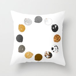 Rolling Cat Circle Throw Pillow