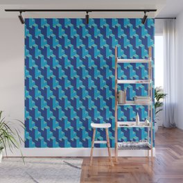 Isometric Blue Cubes Wall Mural