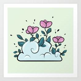 Flower Cloud on green Art Print