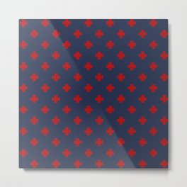 Red Swiss Cross Pattern on Navy Blue background Metal Print