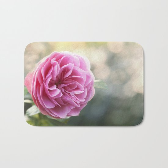Lady in pink - Pink romantic rose at Backlight- roses flowers Bath Mat