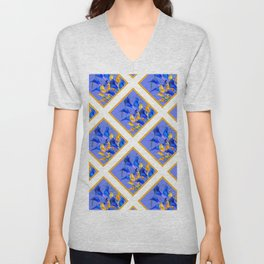 PATTERNED MODERN ABSTRACT BLUE & GOLD CALLA LILIES Unisex V-Neck