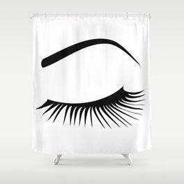 Closed Eyelashes Left Eye Shower Curtain
