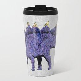 Purple & Gold Stegosaurus Dinosaur on Grey Rock Background Travel Mug