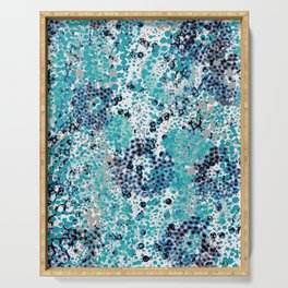 sparkling dots in teal and blueberry Serving Tray