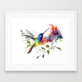 Hummingbird, tropical Foliage, Hawaiian design, tropical, colors Framed Art Print