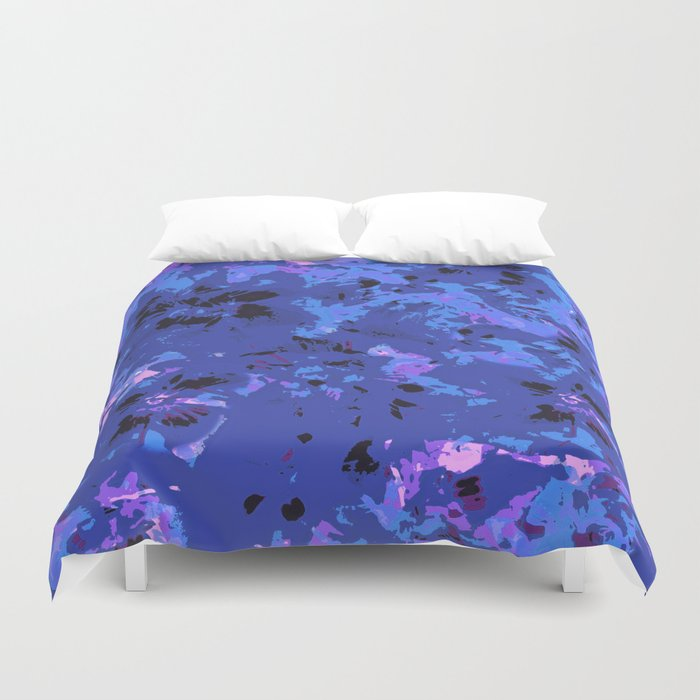 Shabby Chic Blue Floral Abstract Duvet Cover