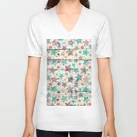 shabby chic V-neck T-shirts featuring Grunge Stars on Shabby Chic White Painted Wood by micklyn
