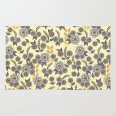 Golden floral with silver on beige Rug