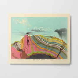 Geological Chart Vintage Illustration by Levi Walter Yaggy 1887 Colorful Pictorial Earth Crust Image Metal Print