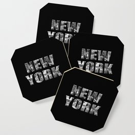 New York (black & white photo type on black) Coaster