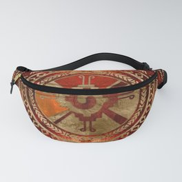 Hunab Ku Mayan symbol Burnt Orange and Gold Fanny Pack