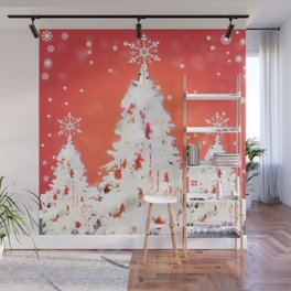 Three White Christmas Trees | Nadia Bonello Wall Mural
