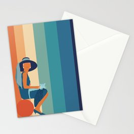 Audrey Hepburn sitting with cats - colorful rainbow Stationery Cards