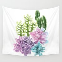 succulents Wall Tapestries featuring Succulents by Megan Alcock