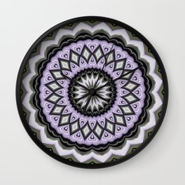 Ultra Violet Silver and Lilac Abstract Geo Pattern Wall Clock