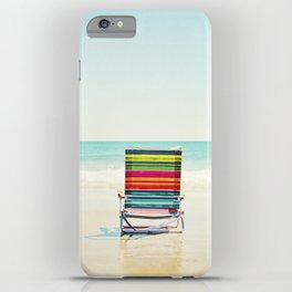 Beach Chair Photography, Colorful Coastal Ocean Landscape iPhone Case