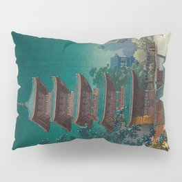 Tsuchiya Kôitsu Japanese Woodblock Vintage Print Garden At Night Moonlit Pagoda Tower Turquoise Sky Pillow Sham