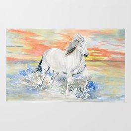 Wild White Horse at Sunset Rug