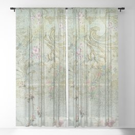 Vintage French Floral Wallpaper Sheer Curtain