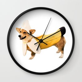 Banana Corgi Wall Clock