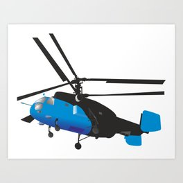 Black and Blue Helicopter Art Print