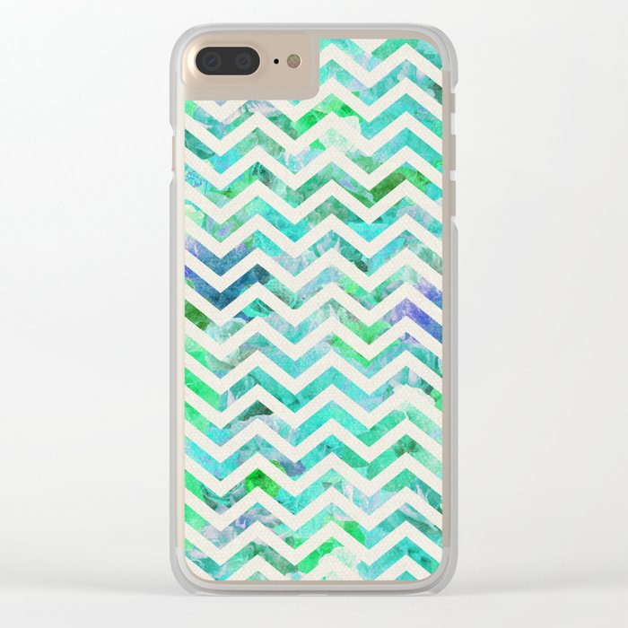 GREEN FLORAL CHEVRON Clear iPhone Case