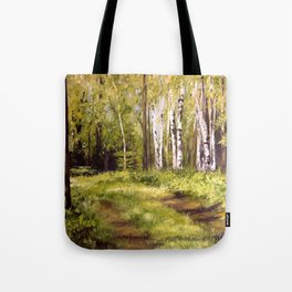 Birch Trees Nature Landscape Oil Painting Tote Bag