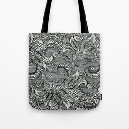 Lace in Black and White Tote Bag