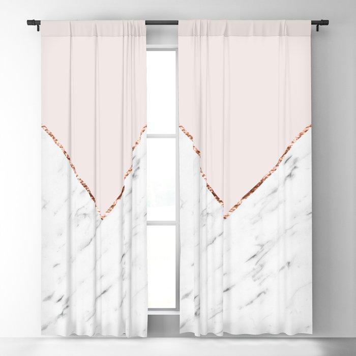 Peony blush geometric marble Blackout Curtain