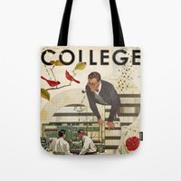 college Tote Bags featuring Welcome to... College by Heather Landis