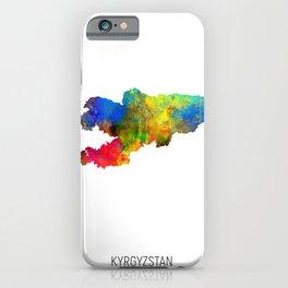 Kyrgyzstan Watercolor Map iPhone Case