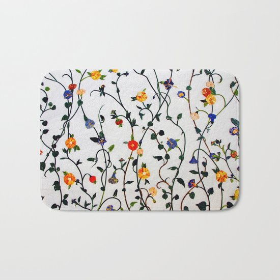 FLORAL AND VINE ABSTRACT PATTERN Bath Mat