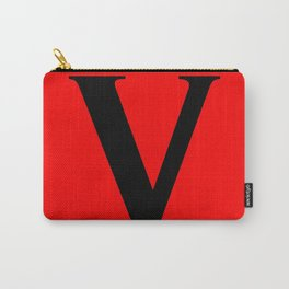 V MONOGRAM (BLACK & RED) Carry-All Pouch
