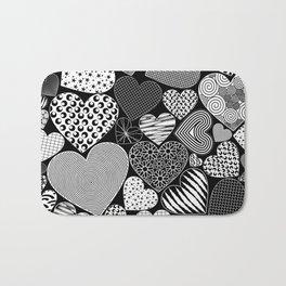 Love Hearts Doodle Art Pattern Bath Mat