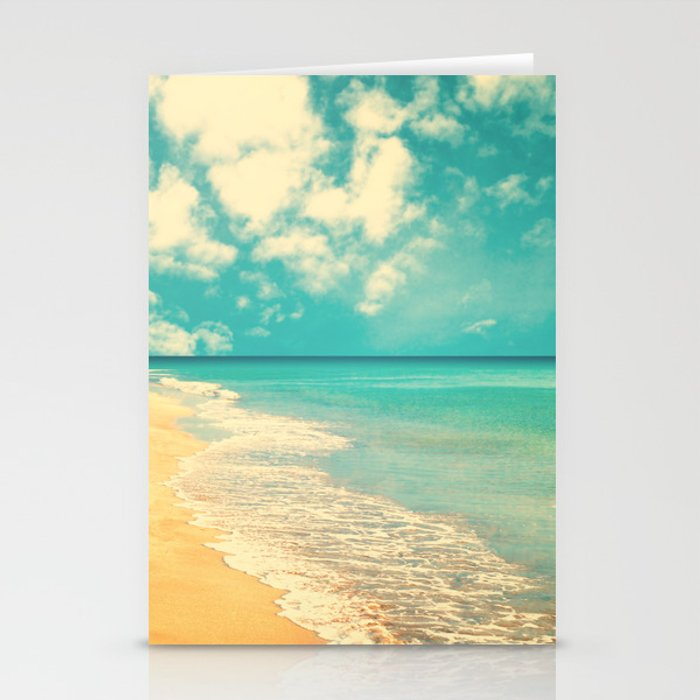 Waves of the sea (retro beach and blue sky) Stationery Cards