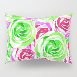 closeup rose pattern texture abstract background in pink red green Pillow Sham