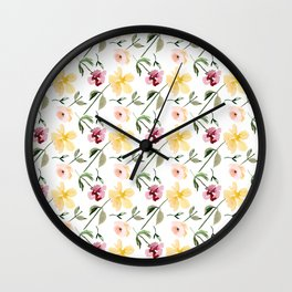 Watecolor Floral Repeat Pattern 1 Wall Clock
