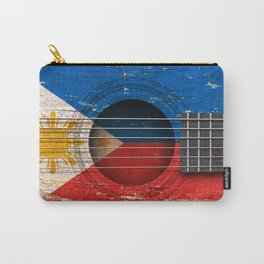 Old Vintage Acoustic Guitar with Filipino Flag Carry-All Pouch