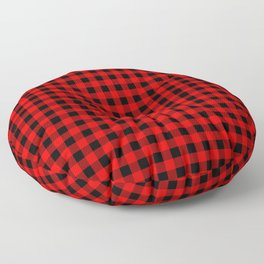 Mini Red and Black Coutry Buffalo Plaid Check Floor Pillow